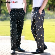 fashion cookware ice cream print cotton chef pant trousers