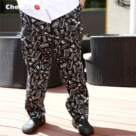 Europe design ice cookware printing chef pant  chef trousers