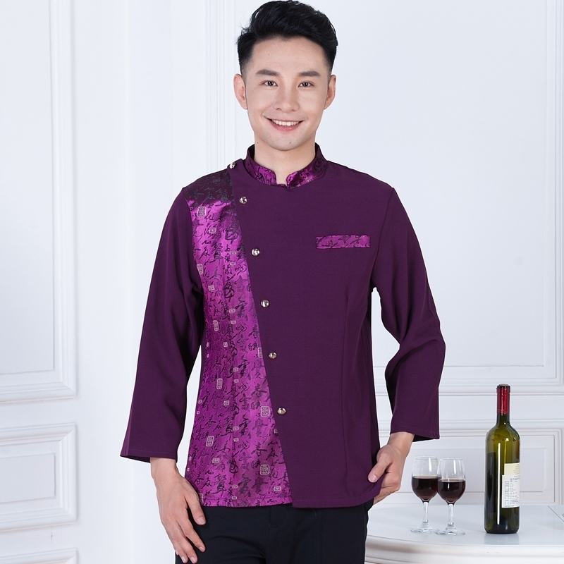 Three button v collar western restaurant waiter shirts bar for Three button collar shirts