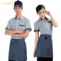 hot sale stripes design waiter waitress shirt + apron gift disocunt