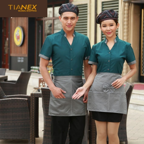 traditional China style short sleeve waiter shirt uniform