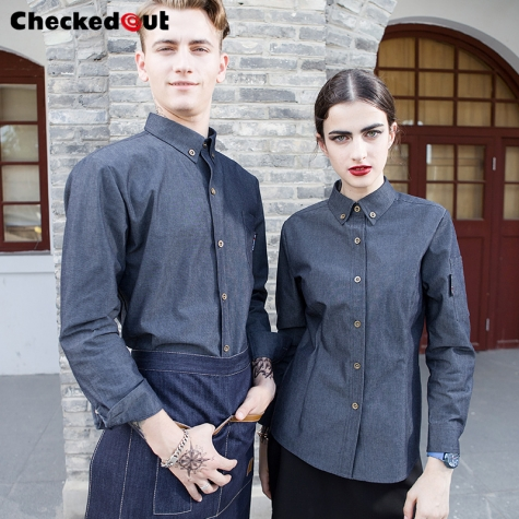 Imitation denim fabric restaurant waiter waitress uniforms