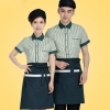 stripes restaurant food table service waiter uniforms shirt + apron