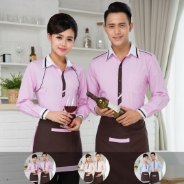 new arrival 2016 summer short sleeve thin waiter shirt + apron