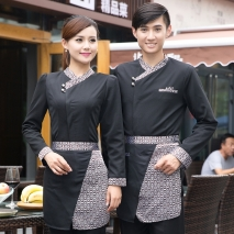 fashion stripes print hotel restaurant waiter waitress shirt workwear