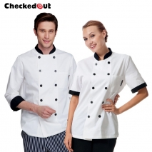 new design black hem collar cook chef coat cook uniform