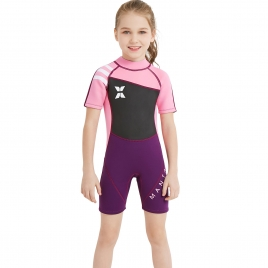 short sleeve good fabric girl children swimwear wetsuit
