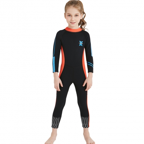 long sleeve one-piece slim fit children wetsuit swimming suit for girl