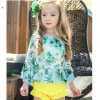 color 12018 new design plant printing cute girl child  teen swimwear