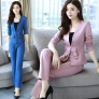 half sleeve bow office uniform women work pants suits