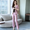 Blackhalf sleeve bow office uniform women work pants suits