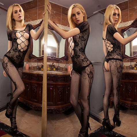 sexy flower lace jacquard open file pants body stocking