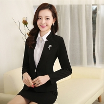 2015 spring fashion  high quality women staff uniform work suits discount BLKE1502