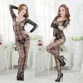 Lozenge jaquard underwear ultral sex open file pant body stocking