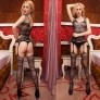 bare shoulder open hip body fishnet stocking garter