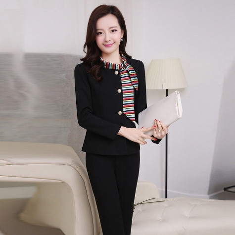 spring long sleeve administrative secretary office lady work pant suits uniform