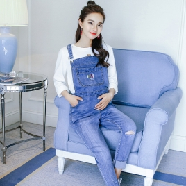 casual loose patchwork pregnant women jeans baggy pant jumpsuit