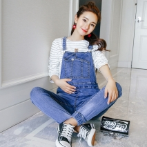 fashion Korea pocket pregnant women jumpsuit jeans maternity pant
