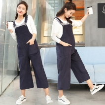 navy casual loose pregnant mother pant maternity jumpsuit
