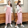 pink casual loose pregnant women maternity jumpsuit pant