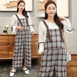 casual checkered printing pregnant women pant maternity pant
