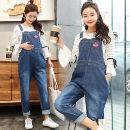 fashion denim maternity pregnant belly protect pant