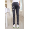 Light Graylovely kitty printing fleece maternity pregnant jeans belly pant