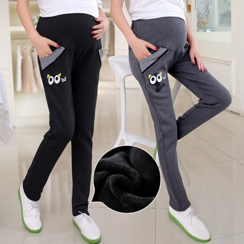 lovely kitty printing fleece maternity pregnant jeans belly pant
