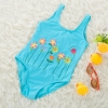color 3lovely floral one piece children girl swimwear