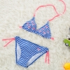 color 3lovely stripes bird printing two piece bikini set children girl swimwear