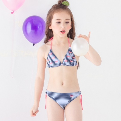 lovely stripes bird printing two piece bikini set children girl swimwear