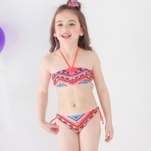 halter two piece bikini set children girl swimwear