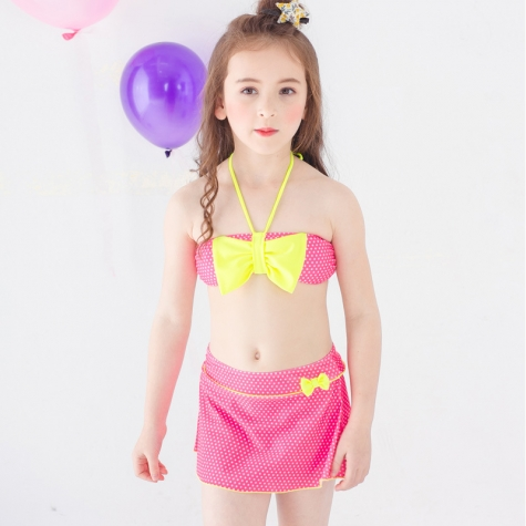 bow dot print children little girl swimwear two piece set