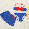 color 3bow dot print children little girl swimwear two piece set