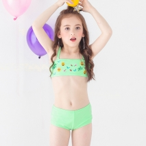 fashion Emoticon print little girl swimwear bikini two piece set