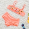 color 4fashion Emoticon print little girl swimwear bikini two piece set