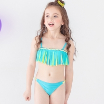 fashion tassel little girl teem swimwear bikini two piece set