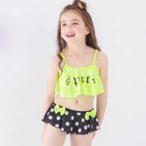 2018 new big dot print little girl teen swimwear bikini