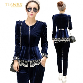 great fashion European American design Advanced velvet lace hem women's suits (jacket +pant)