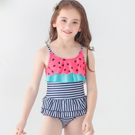 2018 new  black dot printing little girl teen swimwear