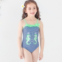 2018 new  Hippocampus printing little girl  swimwear swimsuit