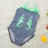 color 42018 new  Hippocampus printing little girl  swimwear swimsuit
