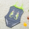 color 62018 new  Hippocampus printing little girl  swimwear swimsuit