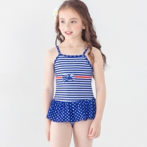 lovely bow stripes printing little girl  bikini swimwear swimsuit