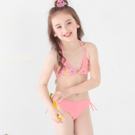 candy flower printing little girl teen  swimwear swimsuit