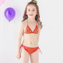 high quality cheap little girl  bikini teen Sequins swimwear swimsuit