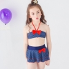 color 1cheap bow dot little girl teen swimwear bikini