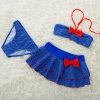 color 3cheap bow dot little girl teen swimwear bikini