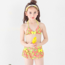 lemon printing little girl teen swimwear