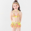 color 1lemon printing little girl teen swimwear